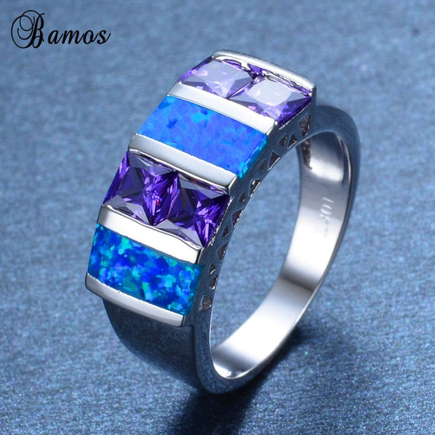 Bamos Simple Purple Cubic Zirconia Finger Ring Blue Fire Opal Geometric Jewelry White Gold Filled Engagement Rings For Women
