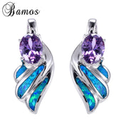 Bamos Unique Feather Blue Fire Opal Earrings For Women White Gold Filled Wedding Party Earring Brincos Birthday Gift Ear0640