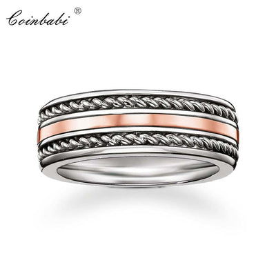 Band Promise Rings Rose Gold Color 925 Sterling Silver Gift For Men Women, Thomas Fashion Eternity Rings TS Fashion Jewelry