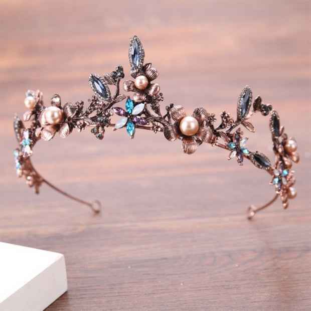 Baroque Bride Crown Colorful Bronze Hair Headwear Vintage Luxury Tiara Wedding