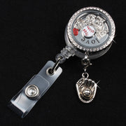 Baseball Badge Reel Floating Locket (REDS Floating Charms Love Plate Crystals) ID Badge Reel DIY Jewelry For Baseball Fan