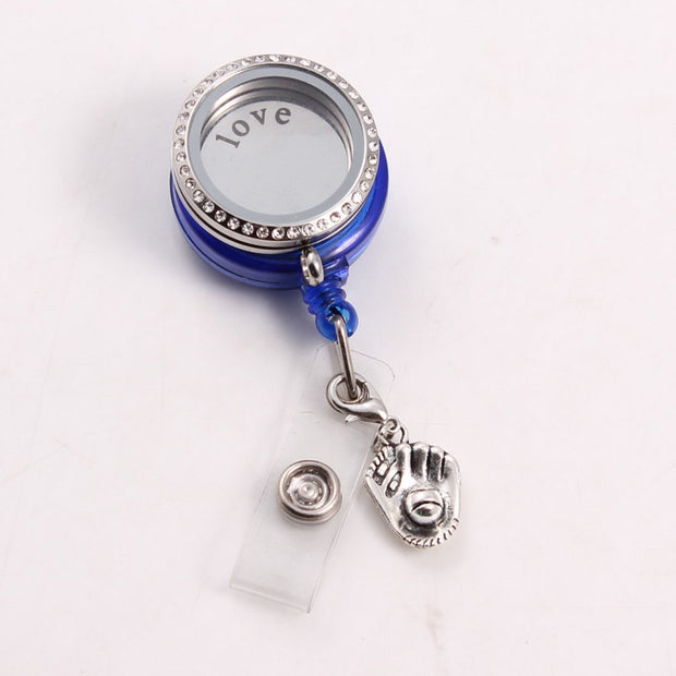 Baseball Badge Reel Floating Locket (SD Floating Charms Love Plate Crystals) ID Badge Reel DIY Jewelry For Baseball Fan Brooch