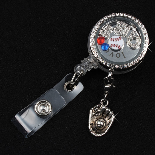 Baseball Floating Locket Badge Reel (CUBS Floating Charms Love Plate Crystals) ID Card Badge Reel Jewelry For Baseball Fans