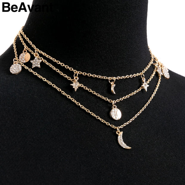 BeAvant Trendy Moon Multilayer Gold Necklace Women Statement Necklace Fine Jewelry Accessories Fashion Clothing Hippie Jewels
