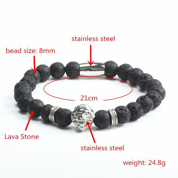 Beaded Bracelet Men 2018 Fashion New Crown Stone Beads Charm Bracelets & Bangles For Men Fashion Jewelry Gift