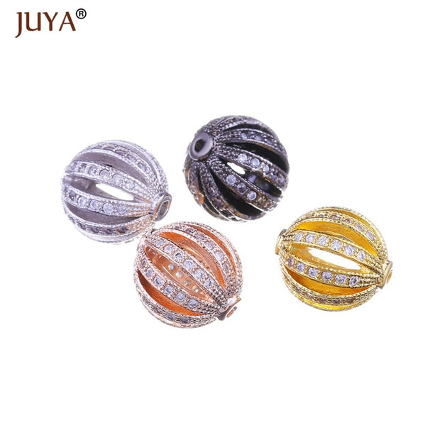 Beads For Making Jewelry Top Quality Copper Metal Zircon Hollow Round Watermelon Ball Beads DIY Making Bracelet Necklace Earring
