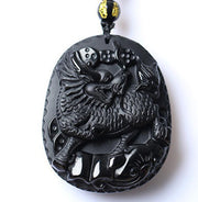 Beautiful 55x46mm Chinese Handwork Natural Black Obsidian Carving Kylin Lucky Amulet Pendants Necklace Fashion Jewelry