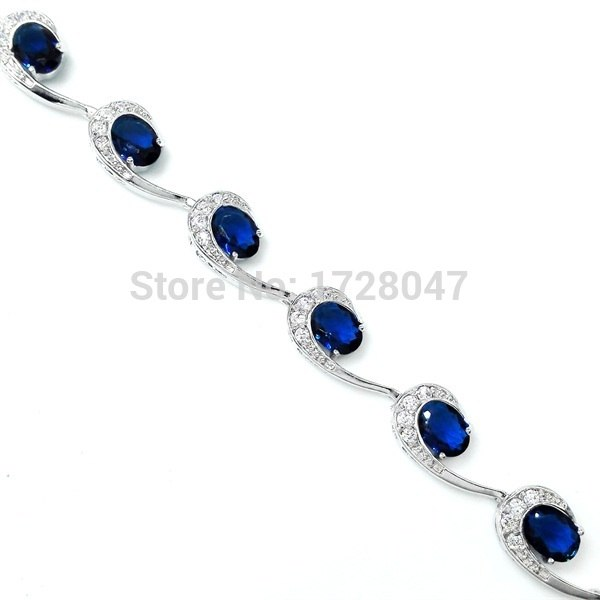 Beautiful Bracelets & Bangle Cubic Zircon Blue Bracelet AAA Cubic Zirconia Female Bracelet