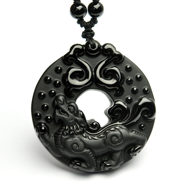 Beautiful Chinese Handwork Natural Black Obsidian Carving Kylin Lucky Pendants Necklace Fine Fashion Amulet Jewelry