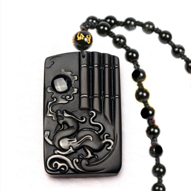 Beautiful Genuine Natural Black Obsidian Carved Dragon Lucky Amulet Pendants Beads Necklace Fashion Man's Pendant Jewelry