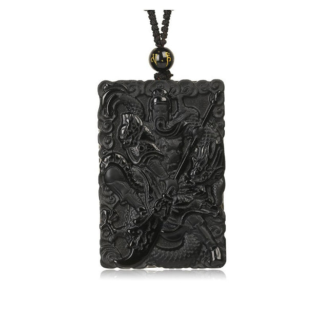 Beautiful Handwork Natural Black Obsidian Carved Chinese GuanGong Lucky Amulet Pendant + Beads Necklace Fashion Jewelry