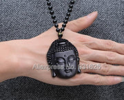 Beautiful Natural Black Ice Obsidian Carved Chinese Blessing GuanYin Head Lucky Amulet Pendant + Beads Necklace Fashion Jewelry