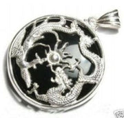 Beautiful Black Stone Silver Dragon Phoenix Pendant Necklace
