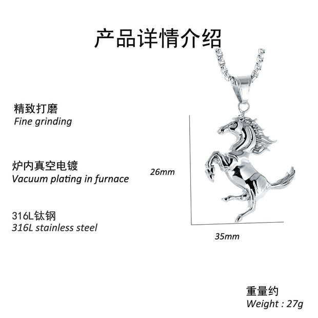 Beautiful Metal Unicorn Horse Silver Charm Necklace Lucky Men And Women Jewelry Gift Necklace