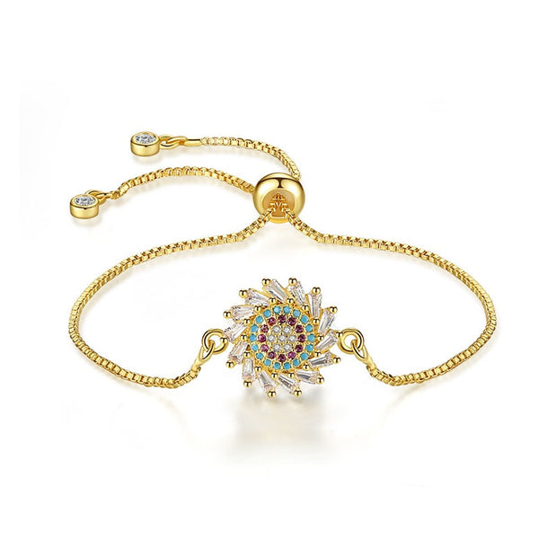 Best Quality Gold Color Sun Flower Style Korean Hand Jewelry Accessories Multicolor Cubic Zirconia Stone Women Bracelets B180