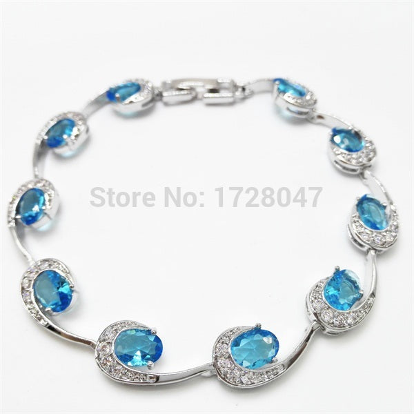 Best Quality Bangles Bracelets White White Plated Deep Sea-blue Cubic Zirconia Fashion Jewelry Bangles For Women