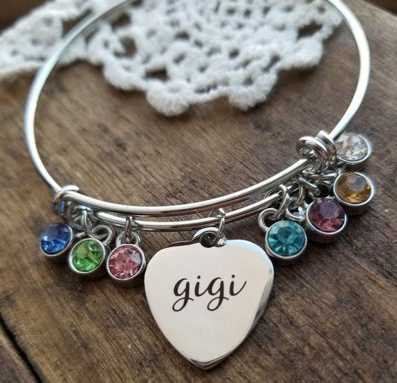 "Best Selling Letter Bangle Elegant Birthstone ""gigi"" Bracelet Bangle Jewelry Best Gift For Family YP4138"