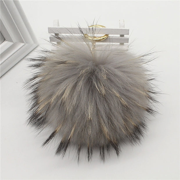 Big 15cm Fluffy Real Fox Fur Ball Pom Poms Natural Fur Pompom Leather Strap Keychain Key Chain Ring Pendant For Women Charm F278