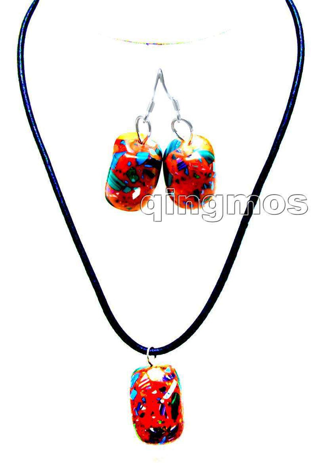 "Big 20*30mm Red Multicolor Cuboid Stone 18-19"" Adjustable Black Natural Leather Necklace And Earring Set-nec5721"