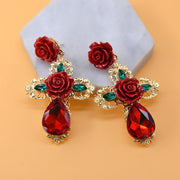 Big Dangle Earrings For Women Flower Red Crystal Statement Drop Earrings Large Rhinestones Drop Earrings Vintage Jewelry Party