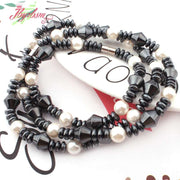 "Black (No Magnetic) Hematite Natural Stone Beads For Woman Tribal Fashion Jewellery Necklace 21""Bracelet 7"" 1 Set Free Shipping"