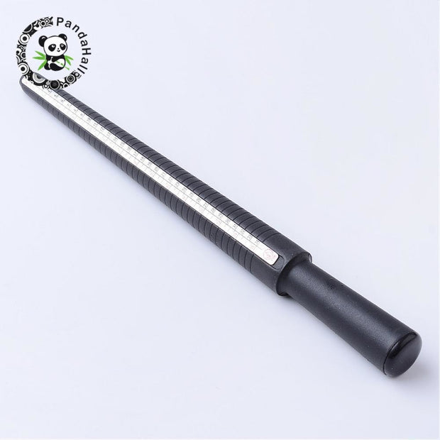 Black Plastic Ring Sizers Sticks, Ring Tool For DIY Jewelry Ring Making, Digital Scale, About 265mm Long, 12~24mm In Diameter