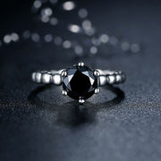 Black Stone Rings For Women 925 Sterling Silver Female Engagement Wedding Party Ring Fashion Jewelry Bagues Femme