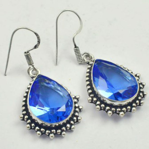 Blue Topas Earrings Silver Overlay Over Copper, USA Size 46mm , E3469