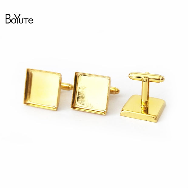 BoYuTe 20Pcs 6 Colors Plated 16MM 18MM 20MM 25MM Square Cufflink Blanks Diy Cufflink Base Setting Jewelry Findings Components