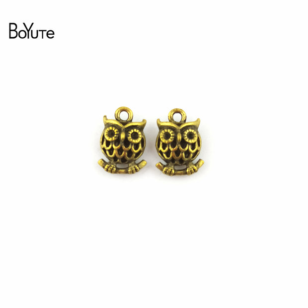 BoYuTe (30 Pieces/Lot) 12*17MM Antique Bronze Plated Zinc Alloy Owl Pendant Charms For Jewelry Making Accessories Diy Handmade
