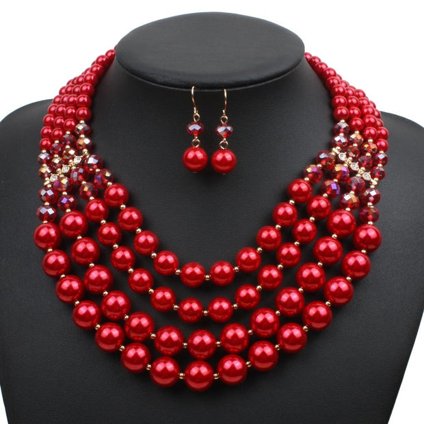 7f9b7aa047 Bohemian Boho 4 Layer Necklace Fashion Imitation Pearl Jewelry Sets Women  Wedding Red Pearl Bridal Earrings