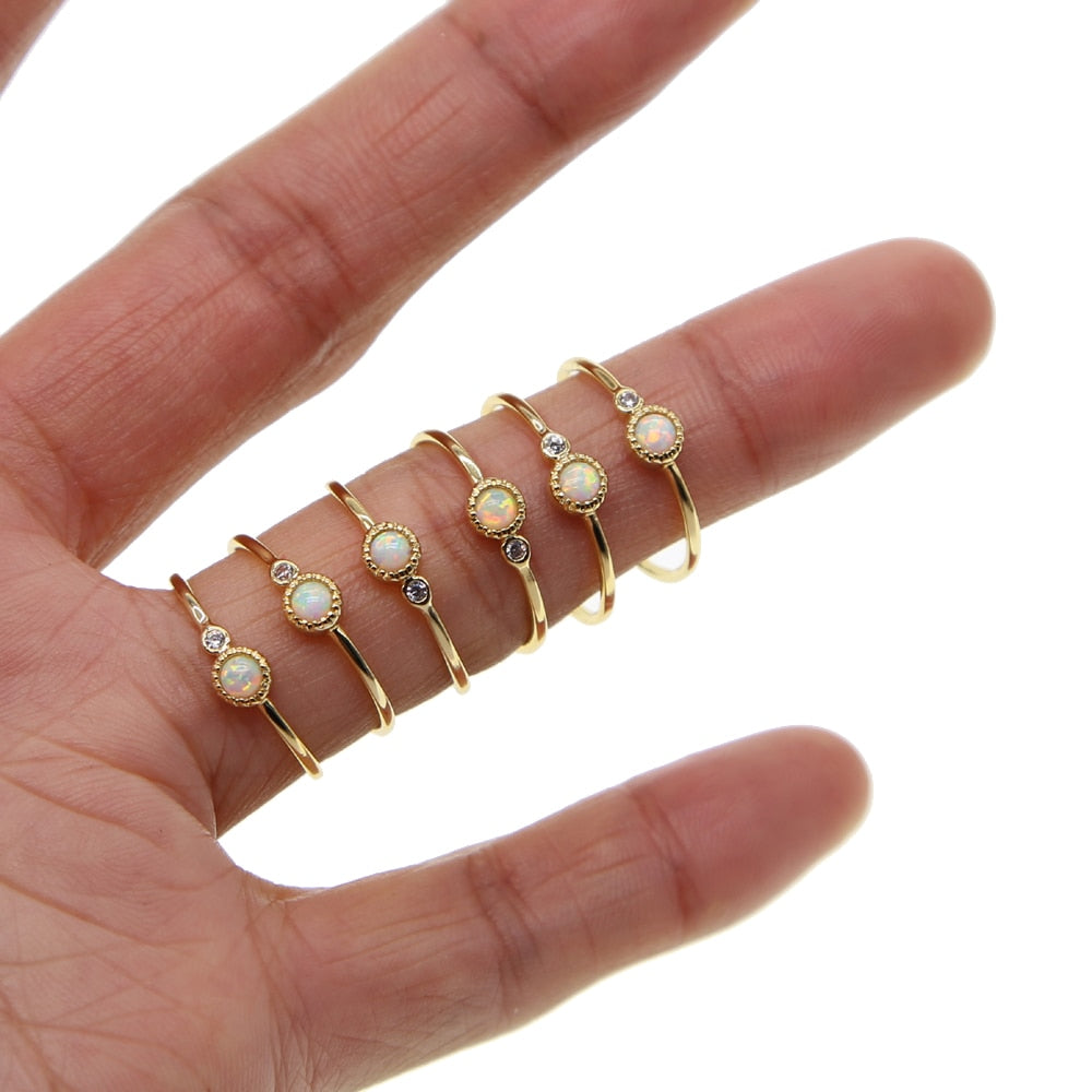 4b77614d84 Boho Vintage Punk Gold Color Minimal Midi Finger Opal Rings For Women  Bohemian Knuckle Ring Set Jewelry