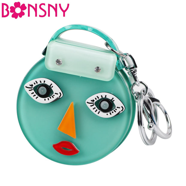 Bonsny Handbag Shape Girl Lady Face Model Key Chain Key Ring New Fashion Jewelry Keychain Accessories For Women Souvenir Gift