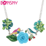 Bonsny Original Enamel Alloy Floral Bird Leaf Necklace Choker Pendant Long Jewelry For Women Girls Gift Statement Dop Ship 2018