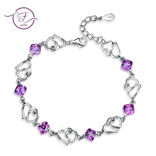Bracelets For Women Jewelry 925 Sterling Silver Natural Purple Amethyst Double Love Heart Wedding Engagement Christmas Gift