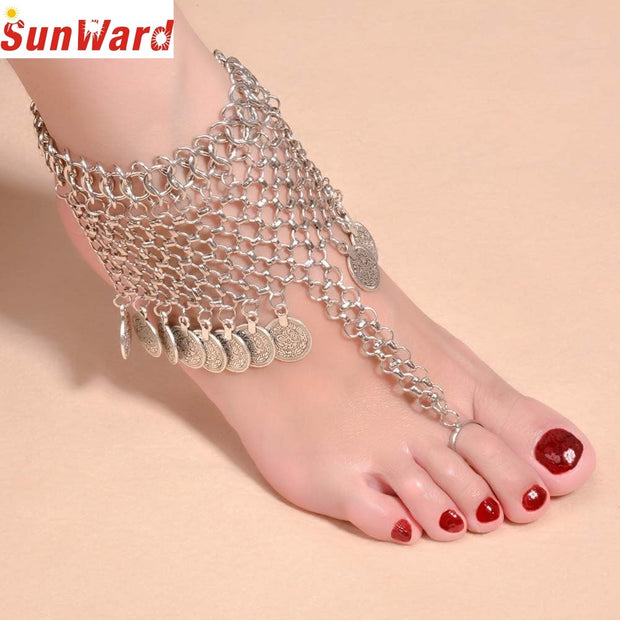Bracelets On The Feet Gussy Life Belongs To You Female Family Name Wind Anklet Coin Fringed Anklets Pesca