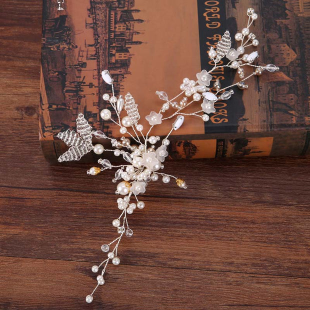 Brand Hair Jewelry Flower Leaf Crystal Pearl Beads Wedding Hair Vine Headband Bridal Tiara Crown Headpiece Hair Accessories JL