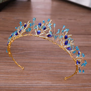 Bride Crown Golden Blue Crystal Tiara Women Bridal Wedding Headwear Headband Decoration Charming Party Gifts N9_C