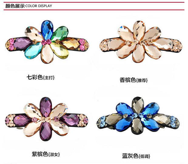 Buena Free Shipping New Hair Chain For Women Headpiece Para Cabelo Crystal Flowers Clip Hair Pin For Women Hair Barrettes LS3017