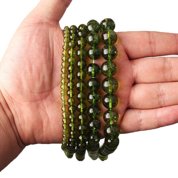 CAMDOE DANLEN Natural Rock Crystal Green Peridot Stone Loose Beads 4 6 8 10 12MM Fit Diy Beads For Jewelry Making Wholesale