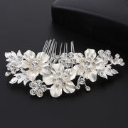 CC Hair Combs Hairpins Engagement Cubic Zircon Wedding Hair Accessories For Bride Jewelry Flower Shape Shine Crystal Gifts Hx175