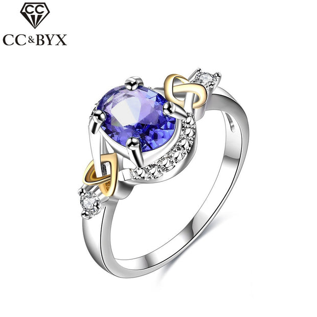 CC Jewelry Romantic Oval Blue CZ Ring 925 Sterling Silver Jewelry For Women Chic Accessories Party Engagement Gift Rings CC541