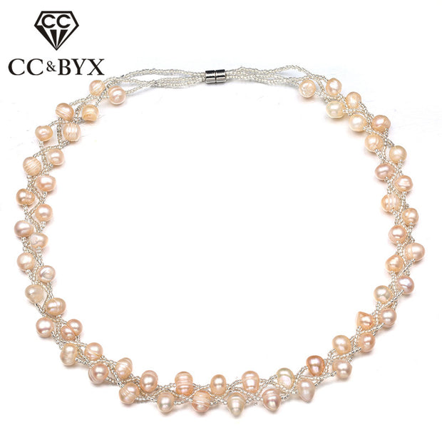 CC Necklace For Women Trendy Jewelry Beige Freshwater Pearls Magnetic Buckle Pendant Bead Necklaces Collana Donna CCN161