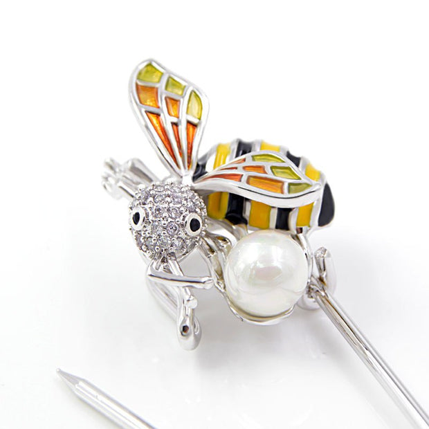 CINKILE Zircon Bee Pin Brooches For Women Copper Material Insect Style Jewelry Cute Enamel Honeybee Broches Bijouterie Good Gift