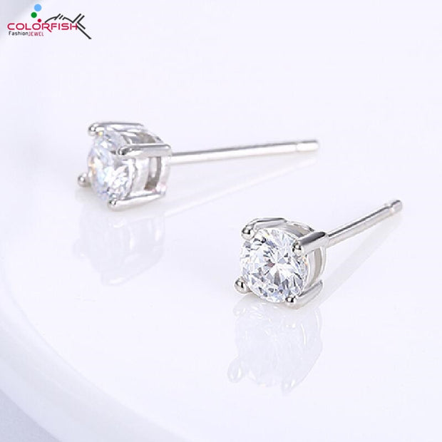 COLORFISH 4mm Round Cut Solitaire Stud Earrings For Women Fashion Jewelry Genuine 925 Sterling Silver Earrings Studs 0.246 Ct