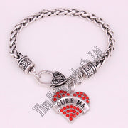 CURE MS Awareness Alert Crystal Heart Charm With 20CM Wheat Chain Lobster Claw Bracelet Medical Sign Jewelry