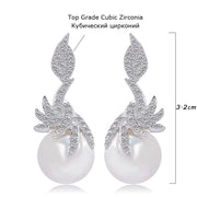 CWWZircons Gorgeous Micro Pave Cubic Zirconia Stones Silver Color Women Dangling Drop Pearl Earrings Fashion Jewelry CZ061