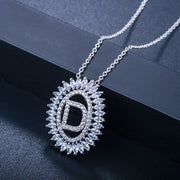 CWWZircons New Fashion Korean Ladies Brand Jewelry Silver Color Big Round Drop Crystal Stone Initial Pendant Necklace CP062