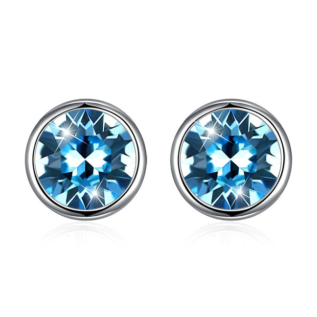 CZ Crystal S925 Silver Stud Earring New Fine Jewelry 100% Real 925 Sterling Silver Earrings For Women