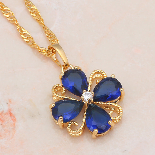 CZ Fashion Jewelry Top Quality Gold Tone Jewelry Sets Earrings Necklace For Women JS589